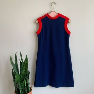 Vintage 60's Red & Blue Mod Aline Sleeveless Dress